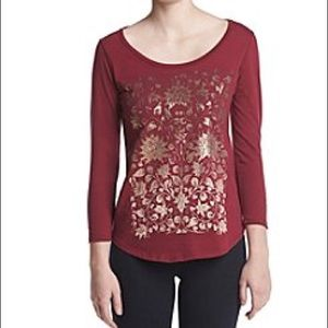 Lucky Brand Gold Foil Floral Pattern Tee